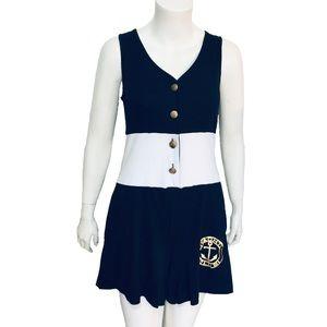 DOTTI | Vintage Nautical Sleeveless Romper Pockets